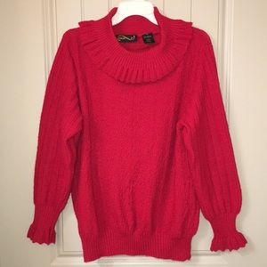 Classic ruffle sleeve Red Sweater sz 40 M/L